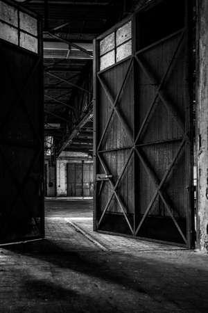 Dark industrial interior of an old building