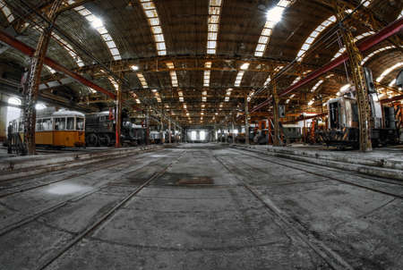 Industrial building interior with frames photo