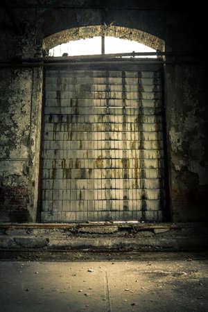 Industrial door closeup photo photo