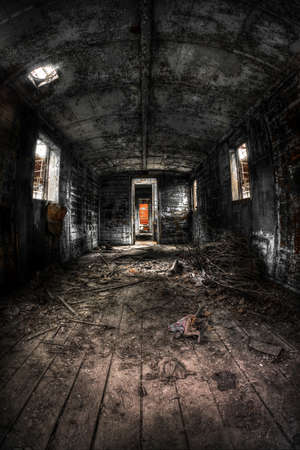intruding: Old train carriage interior with light intruding Stock Photo