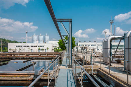 sanitation: Water treatment facility with large pools of water Stock Photo