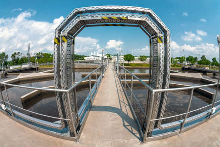 water purification plant: Water treatment facility with large pools of water Stock Photo
