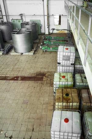 Industrial liquid tanks closeup photo