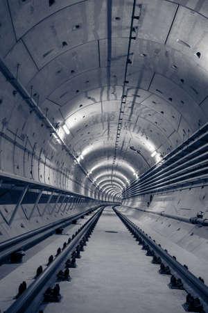 Deep metro tunnel under construction photo