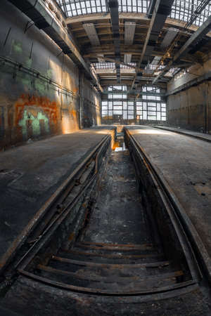 abandoned house: Dark industrial interior of an old building