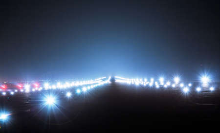 lights on: Landing lights at night closeup Stock Photo
