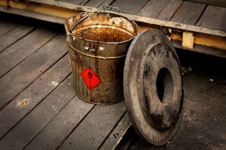 Dirty contaminated bucket close up photo