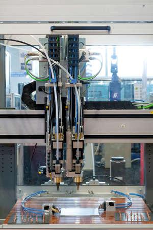 Welder machine in a factory closeup photo