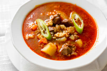Traditional Hungarian goulash close up Zdjęcie Seryjne