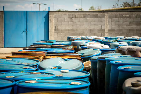 Several barrels of toxic waste at the dump photo