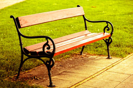 Bench in the park closeup photo
