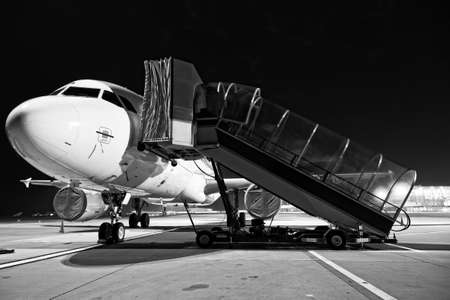 Airplane boarding close up photo photo