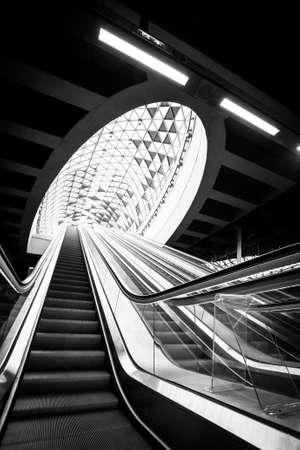 Modern metro interior with escalator