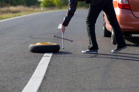 Spare wheel of a car photo