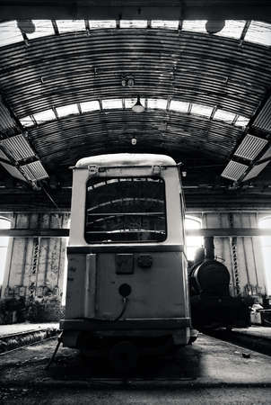 Old trains in abandoned depot photo