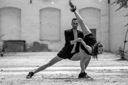 romantic sexy couple: Beautiful couple of professional artists dancing