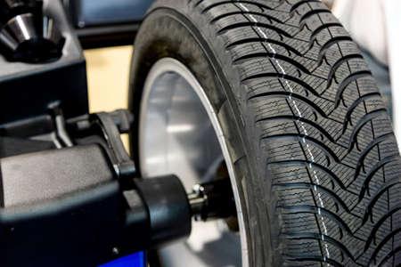 wheel balancing: Wheel balancing close up