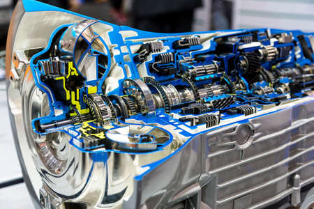Opened switch gear of a car Standard-Bild