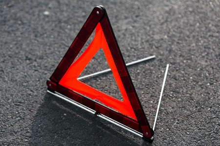 Red triangle of a car photo