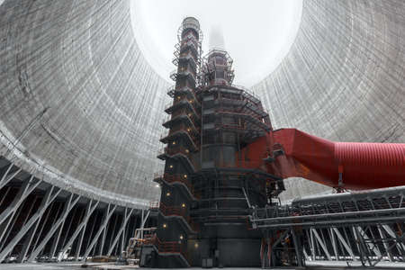factory power generation: Thermal power plant with large chimney