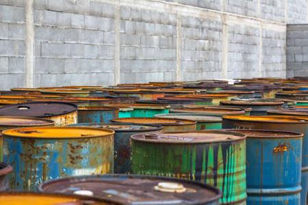 Several barrels of toxic waste at the dump