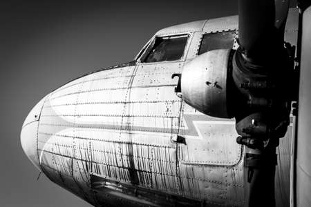 Old vintage jet engine in black and white