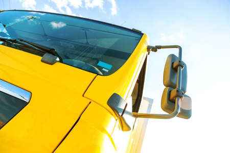 fuel truck: Large truck details against blue sky Stock Photo