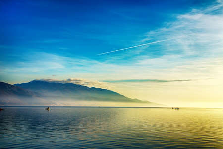 horizon reflection: Beautiful landscape with boats and sea