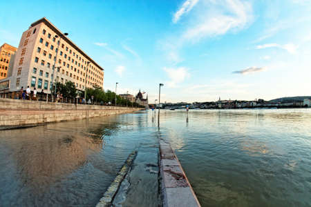 sandbag: Flooded terrain in Europe at summer