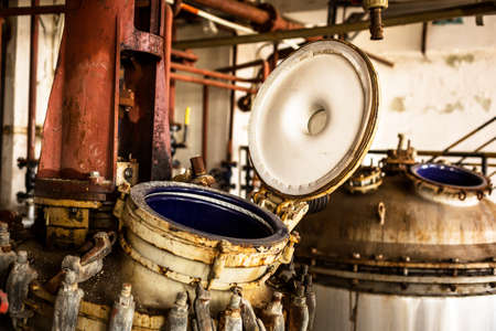 storage tank: Industrial interior with storage tank in rusty colors