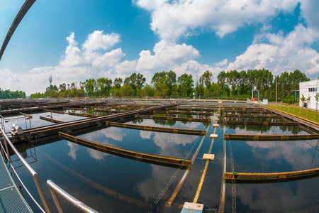 water purification plant: Water cleaning facility outdoors photo Stock Photo