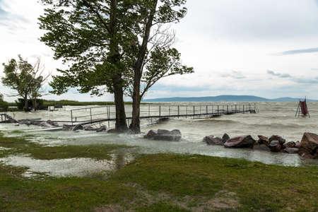 balaton: Storm over the lake Balaton Stock Photo