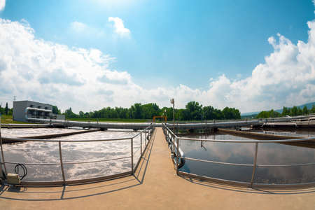 sewer water: Water cleaning facility outdoors photo Stock Photo