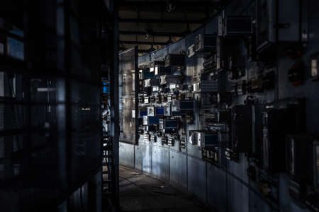 factory power generation: Control room of a power plant indoors Stock Photo