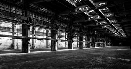 hall: Dark industrial interior of an old building