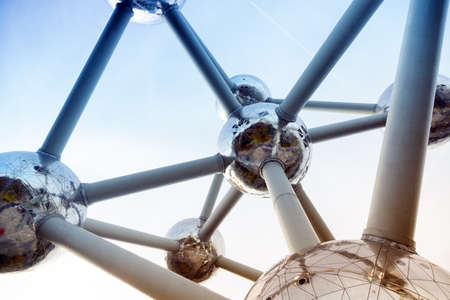 Atomium structure abstract background closeup