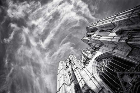 Beautiful Gothic cathedral from Bruxelles Belgium photo
