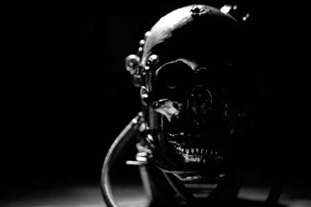 terminator: Skull of a human size robot in black and white Stock Photo