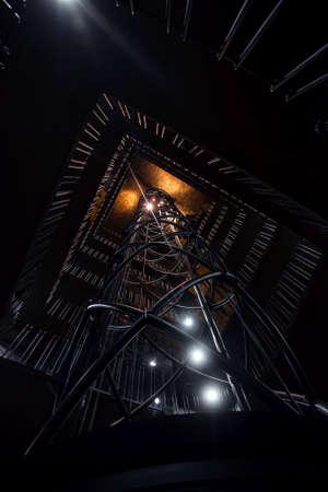 shaft: Elevator shaft in the dark with lights