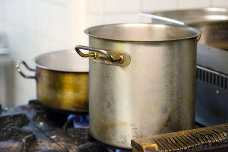 gas cooker: Dirty pots on the gas cooker