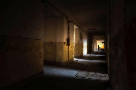 Dark creepy abandoned house interior