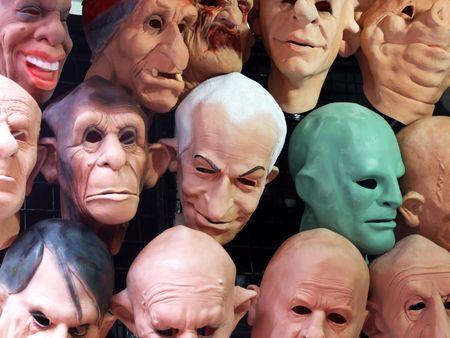 Display of human and animal masks
