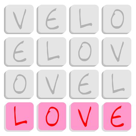 letter blocks: Puzzle of square letter blocks spelling love