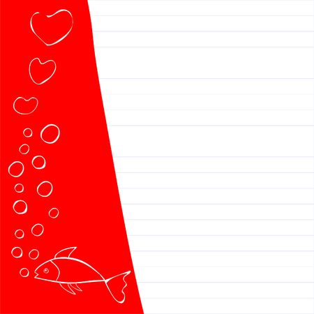 dopisní papír: Fish in love, making love bubbles, can be used as border or writing paper