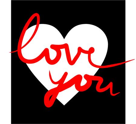 esplicito: Illustrazione vettoriale di un cuore bianco su sfondo nero con il testo ti amo