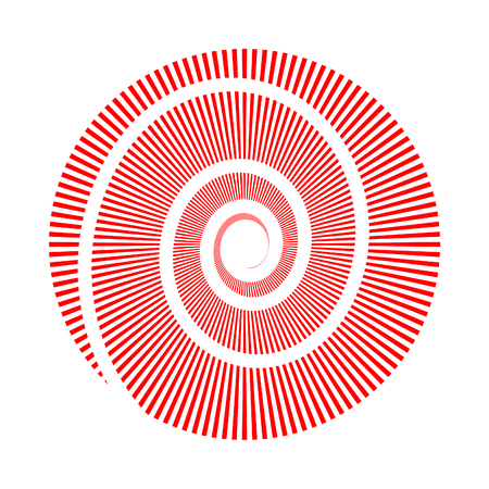 Vector image of circle made of triangles and spiral