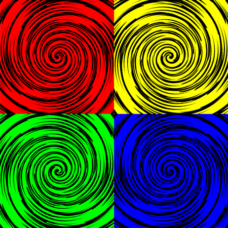 blue green background: Black spirals on red, yellow, green and blue background