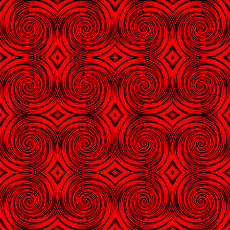 Spiral pattern in black and red, seamless tile Vector