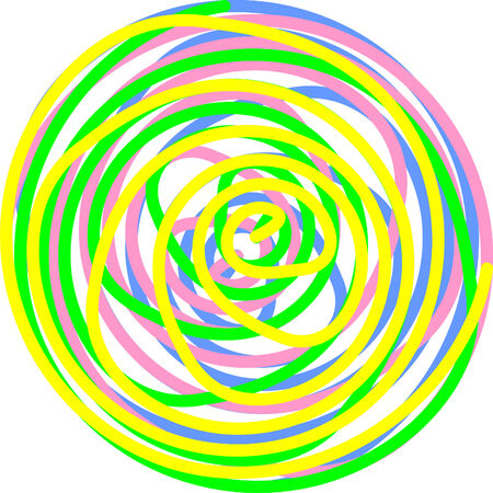 circle made of twisted spirals in yellow, green, pink and blue