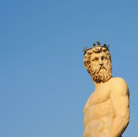 mannerism: Statue of Neptune against blue sky in Florence, Italy Stock Photo